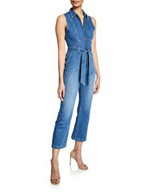 bf2b954250 ALICE + OLIVIA JEANS Designer Gorgeous Sexy 70s Cropped Sleeveless Jumpsuit