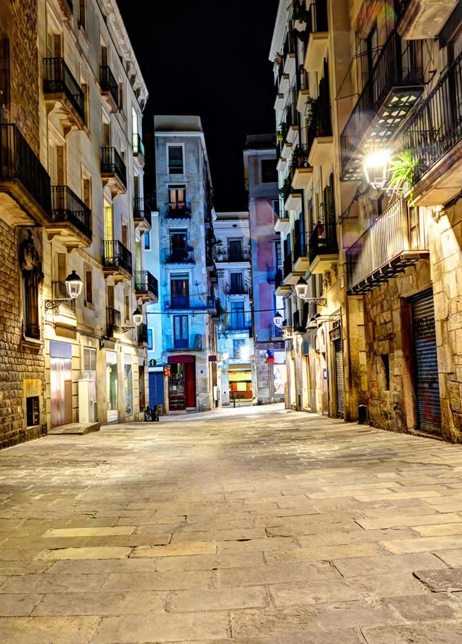 Barcelona Gothic Quarter - Spain.  This photo looks like the streets are so wide, but they really aren't.