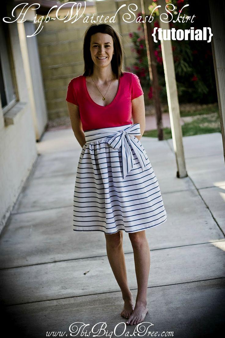 high waisted sash skirt tutorial sewing