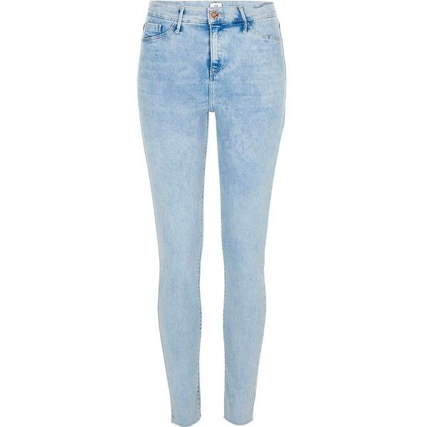 River Island Blue Molly raw hem skinny jeggings ($84) ❤ liked on Polyvore featuring pants, leggings, blue, jeans, jeggings, women, denim leggings, skinny jeggings, blue skinny pants and blue jeggings