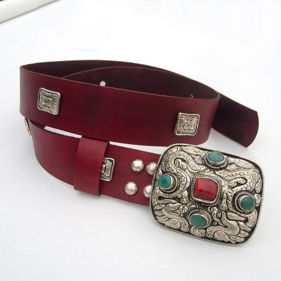 Women's Leather Belt Hippie leather belt Nepalese by JeansBelt