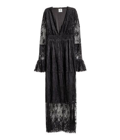 Black. STUDIO COLLECTION. Long lace dress with a low-cut V-neck, long sleeves…