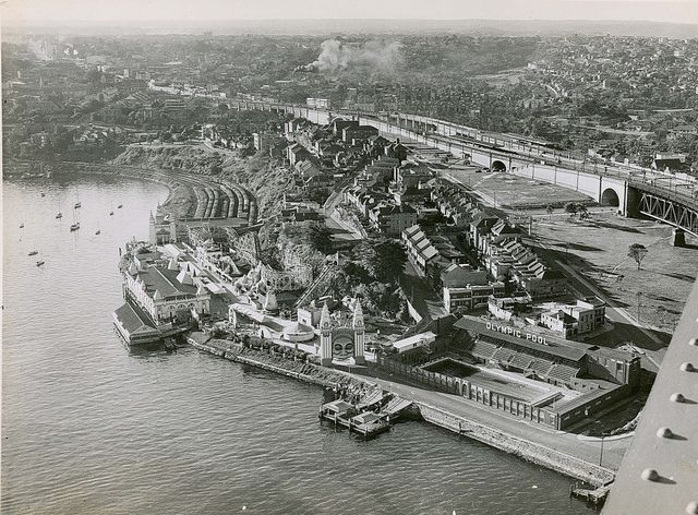 Arial view of Milson's Point & Luna Park from the bridge. C late 1930's