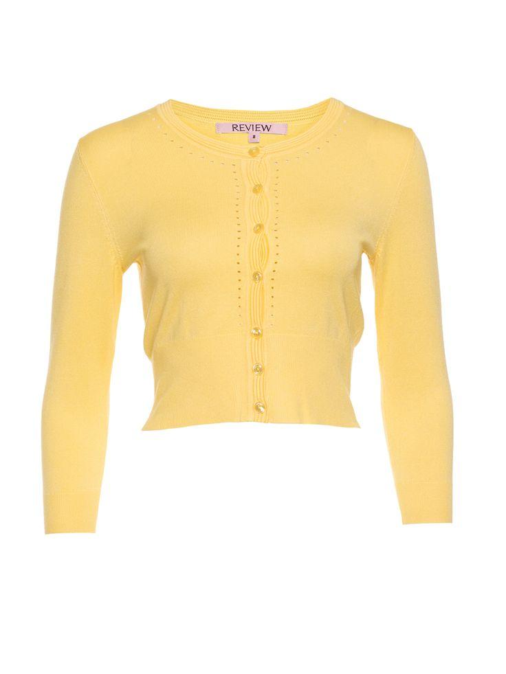 Maggie 3/4 Sleeve Cardi | Lemon White | Cardi
