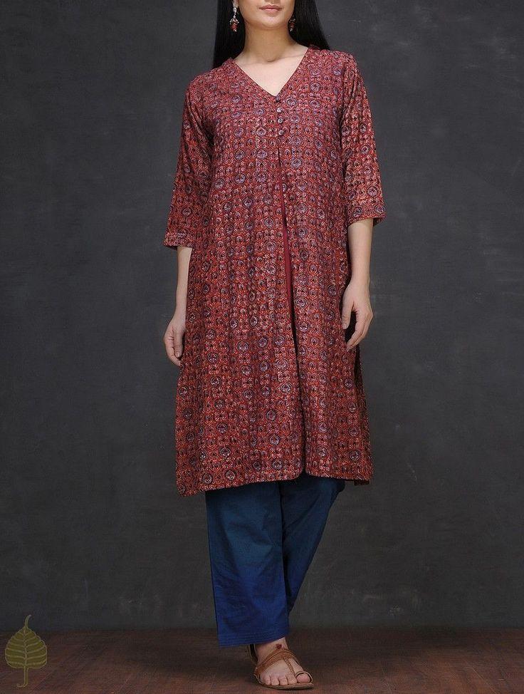 Buy Maroon Blue Ajrakh printed V neck Cotton Kurta with Slip by Jaypore (Set of 2) Women Kurtas Online at Jaypore.com