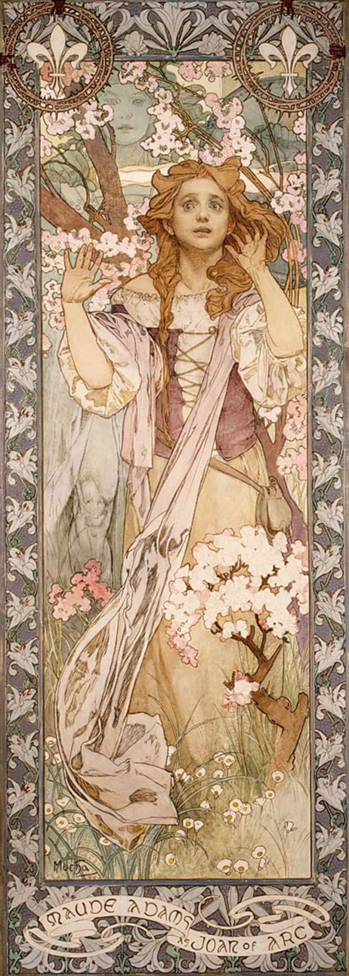 Maude Adams as Joan of Arc (1909). Alphonse Mucha (Czech, 1860–1939). Oil on canvas. Met. Depicts Adams in the role of Joan of Arc in Schiller's Die Jungfrau von Orleans, which she performed in 1909, at Harvard University Stadium. The portrait was made specifically for that one-night gala performance and was displayed as a poster for the event. Mucha also designed the costumes and sets and supervised the direction.