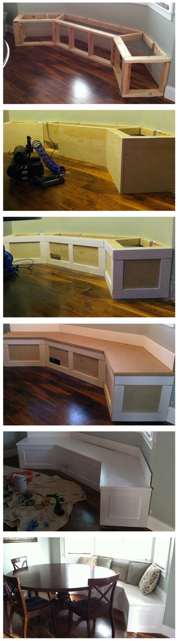 DIY - How to Build a Kitchen Bench. Maybe we'll try this...or maybe we'll just hire TJ again :)