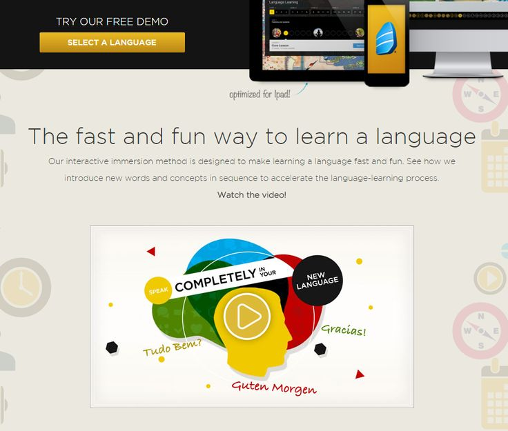 Video landing pages Rosetta Stone