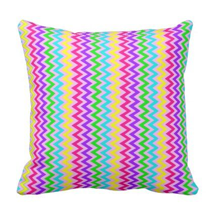 CANDY RAINBOW CHEVRON SQUARE PILLOW - #customizable create your own personalize diy