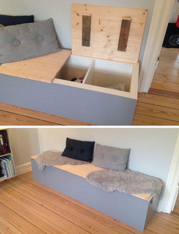 Galleri: Læsernes bedste boligtips DIY bænk med opbevaring - lavet af Ikea reol Vi bor i en murermester villa fra 1929, hvor man ikke tænkte på, at en gang skulle indeholde en hel families overtøj og mange sko. Derfor har jeg lavet en bænk i vores nye spi