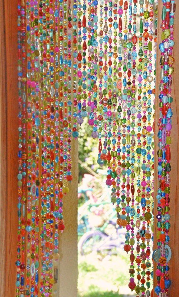 Beaded Curtain Hanging Door Beads Bohemian Curtain Boho Doorway