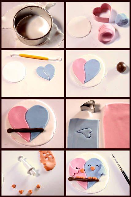 Cupcake topper tutorials #1: Lovebirds <3 - CakesDecor