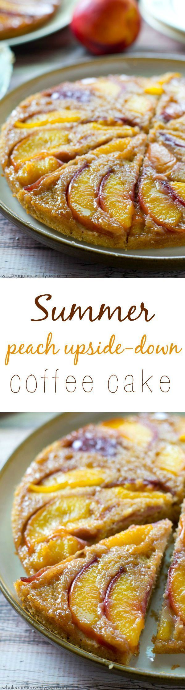An unbelievable caramel-y peach topping stars in this classic summer cake, made healthier and into breakfast coffee cake-form! @Sarah | Whole and Heavenly Oven