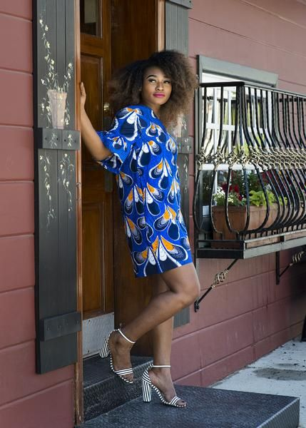 Eya Ruffle Sleeves Shift Modern African Dress (Blue/Orange Peacock Feathers)