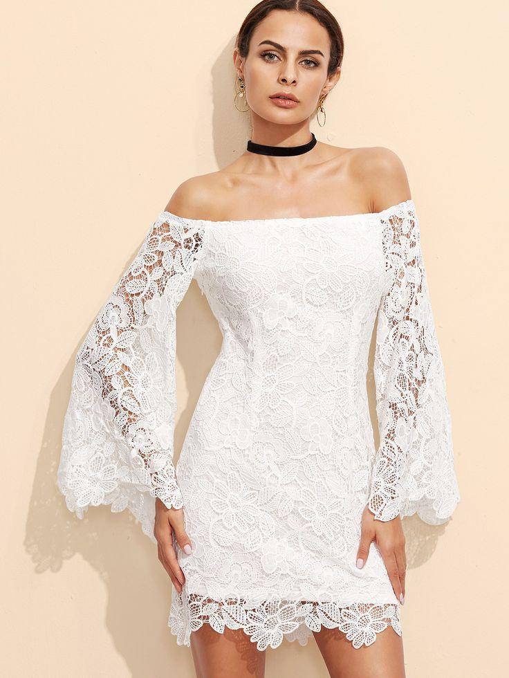 Kleid 2017 Schulterfrei bestickte Spitze Weiß                                                                                                                                                                                 Mehr