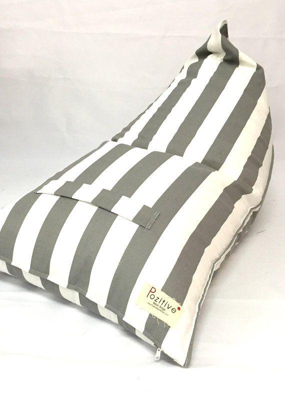 Meduim Bean Bags Striped Grey And White Pouf Bean Bag