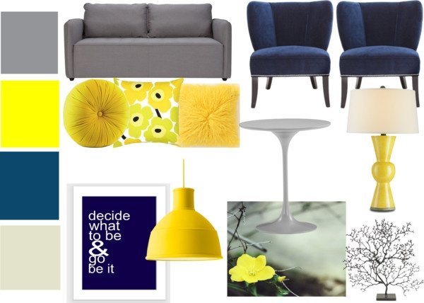 Navy Gray And Yellow Living Room Set By Bekahjoy813 On Polyvore