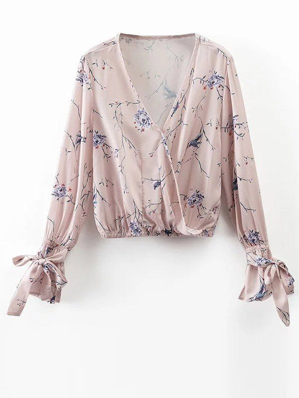 $21.99 Floral Wrap Top - LIGHT PINK S