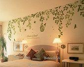 Beautiful Flowers with Flying Birds and Birdscage-Vinyl Wall Decal vinyl vine wall sticker birdcage birds wall decor nursery decor. $59.00, via Etsy.