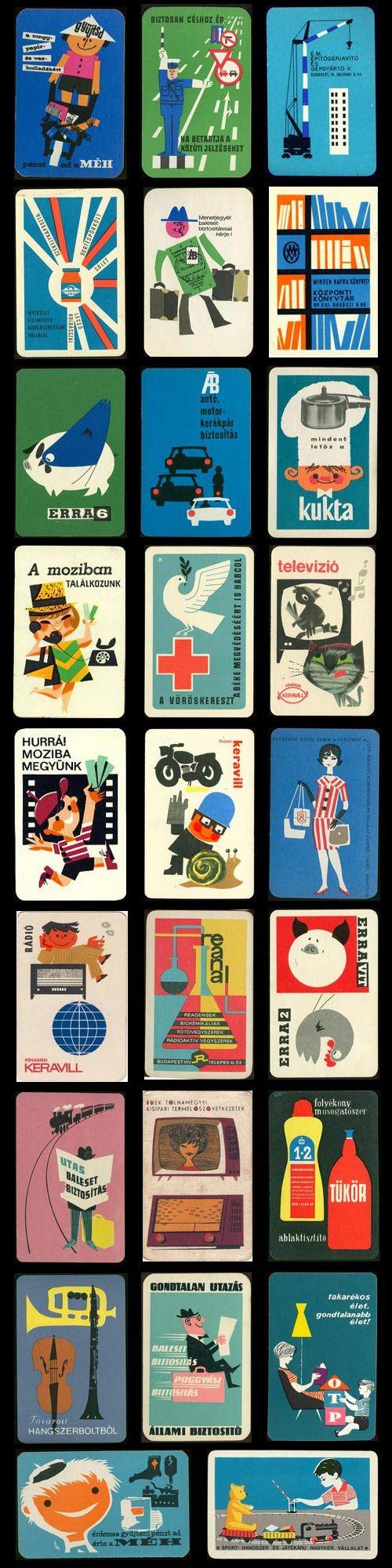 Vintage Posters - hungarian mid-century pocket calendars, business card, graphic design, visual identity, vintage, retro