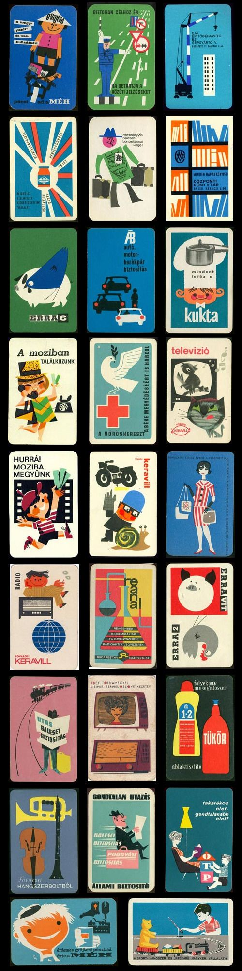 Vintage Posters - hungarian mid-century pocket calendars, business card, graphic design, visual identity, vintage, retro