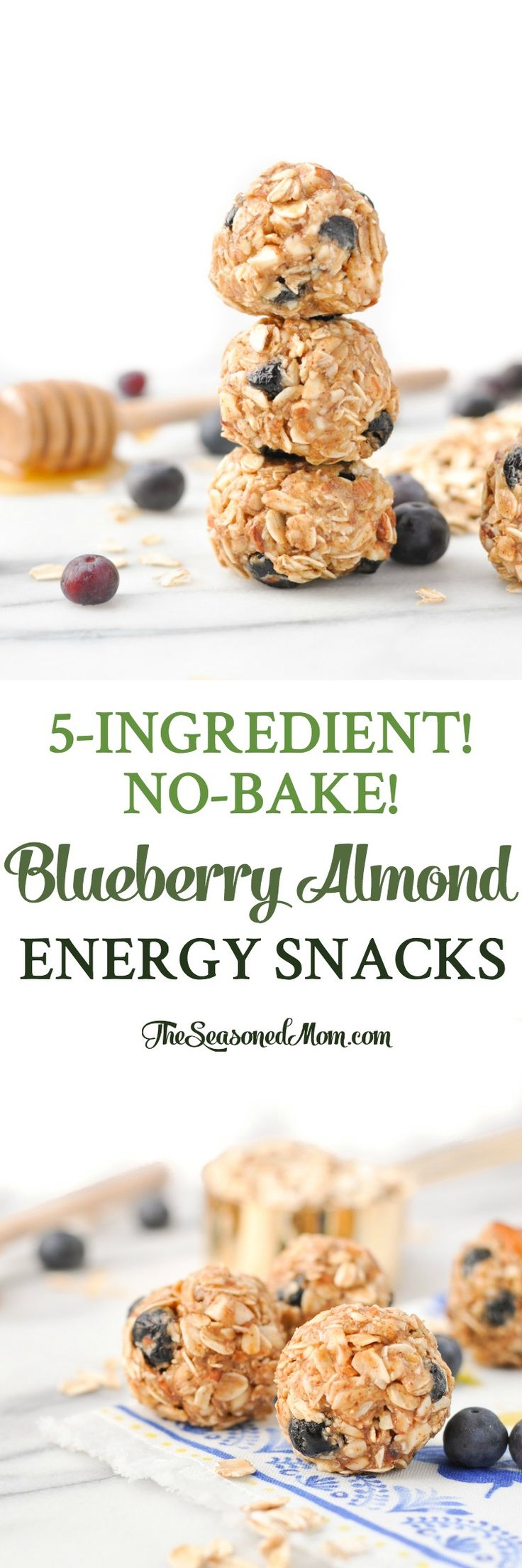 5-Ingredient No-Bake Blueberry Almond Energy Snacks! Snacks for Kids | Healthy Snacks | Snack Ideas | No Bake Energy Bites | Clean Eating Recipes | Meal Prep | Gluten Free