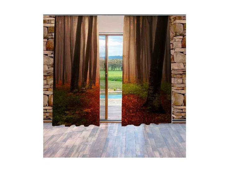 Xdecor Podzimní les (140 x 250 cm) -  Dekorační závěs