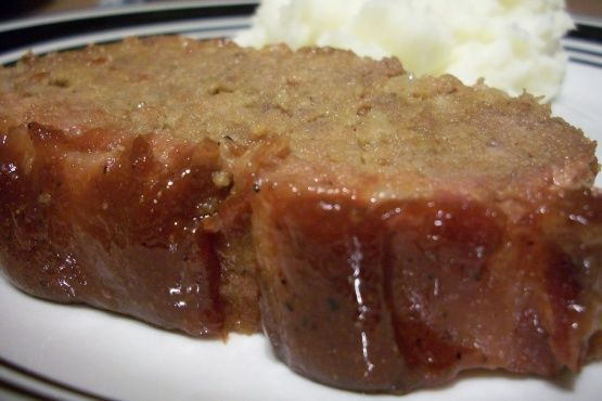 After traveling in eastern Ohio and eating many different Amish-style meatloaves, I finally asked for this wonderful meatloaf recipe.  This one is not as sweet as the typical Amish recipe and has some garlic flavoring in it.  We love it!!