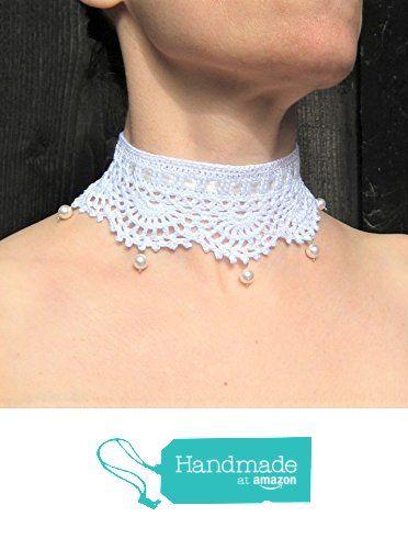 collier mariage tour de cou dentelle crochet choker ras du cou mariage style victorien romantique blanc perles de cristal nacrées cadeau de Noël Lilith Creation à partir des LilithCreation-Boutique https://www.amazon.fr/dp/B06XCPYKLV/ref=hnd_sw_r_pi_dp_6.0Tyb1FJAS04 #handmadeatamazon