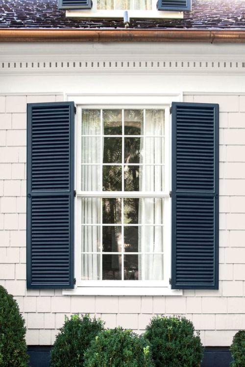 25 best ideas about blue shutters on pinterest shutter for Tan siding shutter color combinations