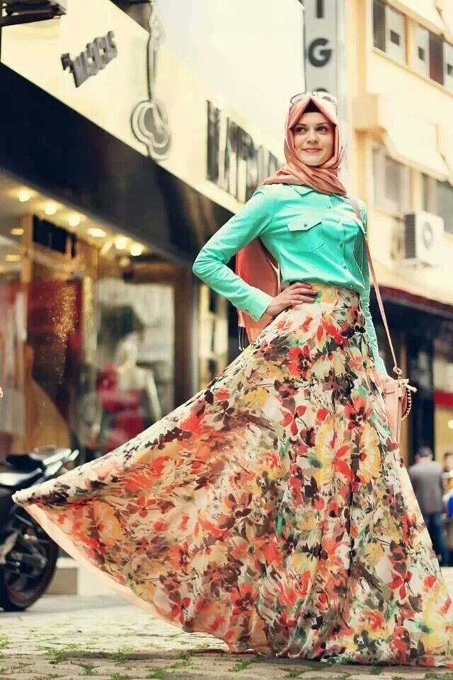 Hijab Outfit with Colorful Maxi Skirt