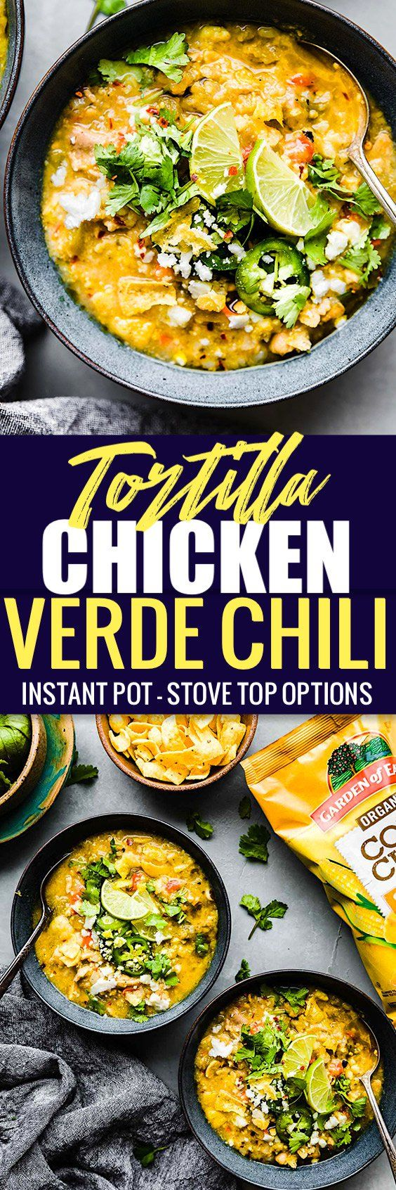 This Spicy Tortilla Chicken Verde Chili is made easy in the instant pot or stove top! A delicious chicken chili packed with wholesome gluten free ingredients and a crunchy tortilla chip topping! You'll love this healthier twist on a Mexican inspired Chili! No beans required.