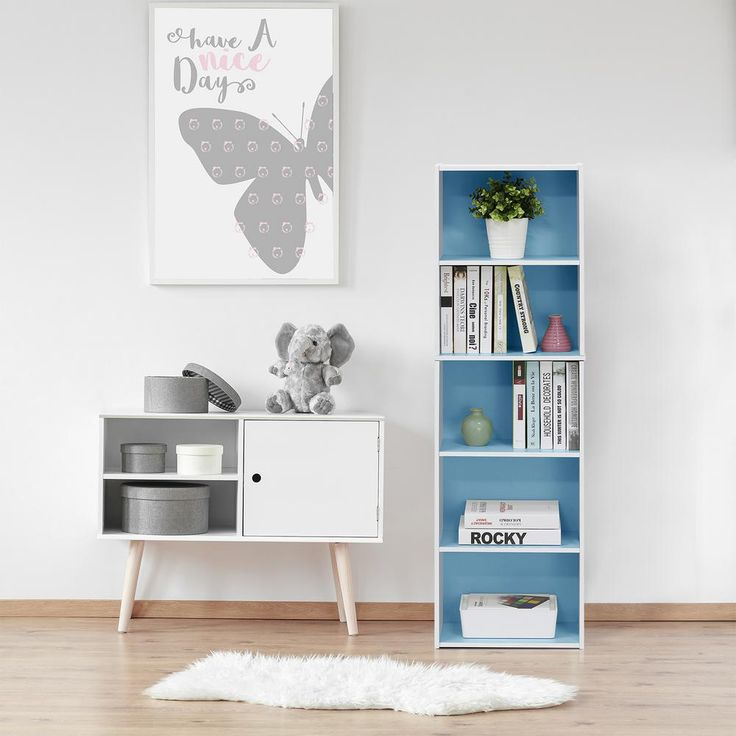 Furinno White And Light Blue 5-Tier Reversible Color Open