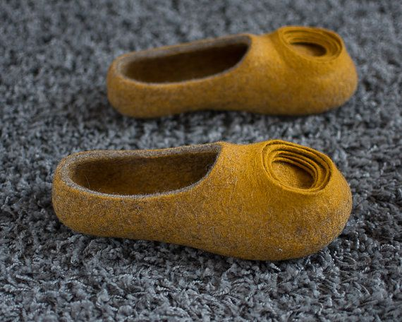 Yellow Slippers  Yellow Women Slippers  Gift for Her  by MusiuMuse