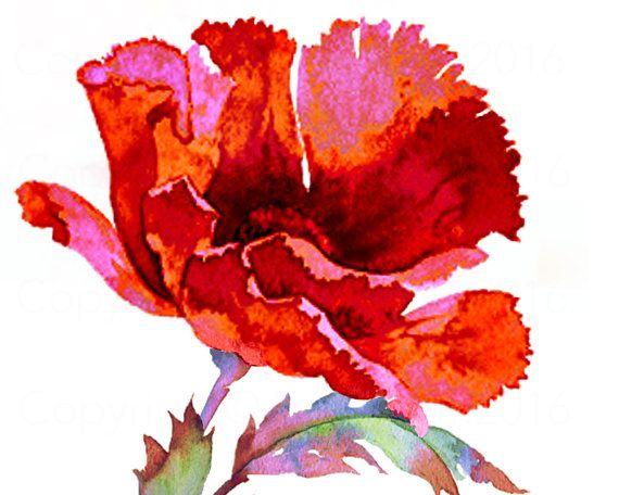 Watercolour RED POPPY Flower Art Print Handmade by SmiffyStyle