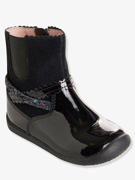 f7527705b Botines de piel con elástico lateral para niña - Burdeos+Negro - 9 ...