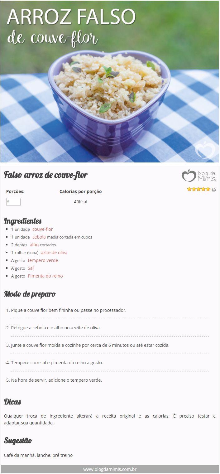 Arroz falso de couve-flor - Blog da Mimis #blogdamimis #infográfico #receita #alimentação #culinária #dieta #lowcarb