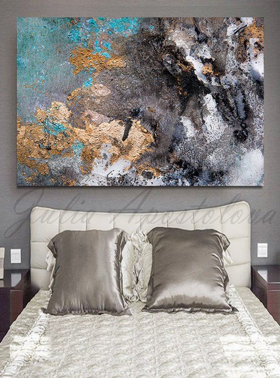 44 X30 Abstract Watercolor Pint On Canvas Huge Wall Art Large Print Painting Gold Leaf In 2018 Home