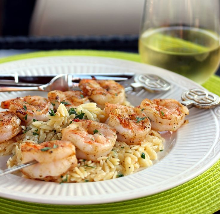 Grilled Shrimp with Garlicky Parmesan Orzo - A flavorful shrimp recipe that cooks very quickly.
