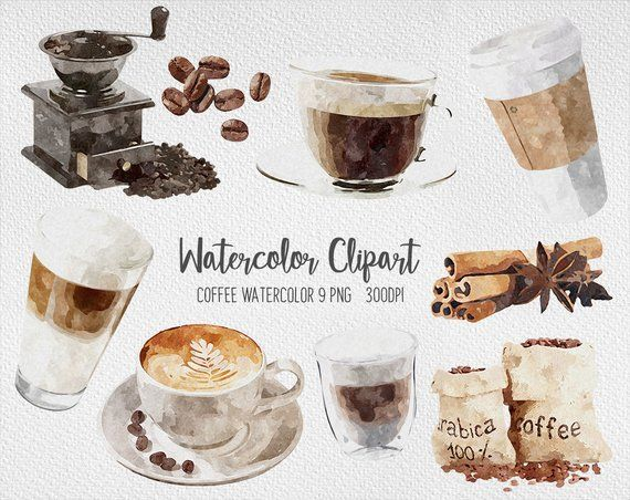 Coffee Watercolor Clipart Coffee Shop Cafe And Pastries Coffee Etsy In 2020 Coffee Watercolor Food Illustrations Coffee Art