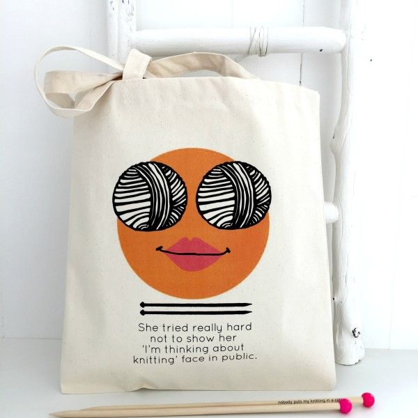 Think Knit Personalised Knitting Face Bag