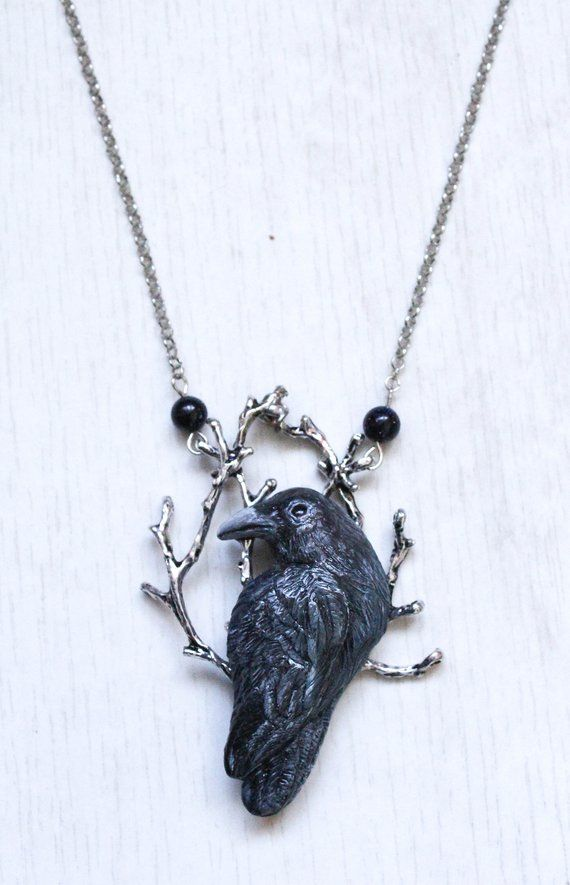 Raven /& Crescent Moon Charm Necklace Black Sterling Silver Ball Chain crow bird