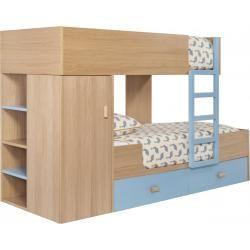 Milk Bunk beds made of oak, natural and grey-blue (www.habitat.fr)