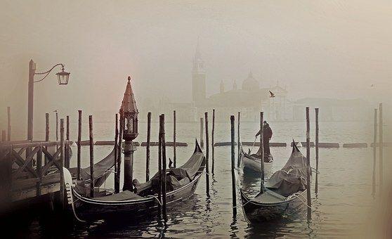 Benátky, Itálie, Gondola, Laguna