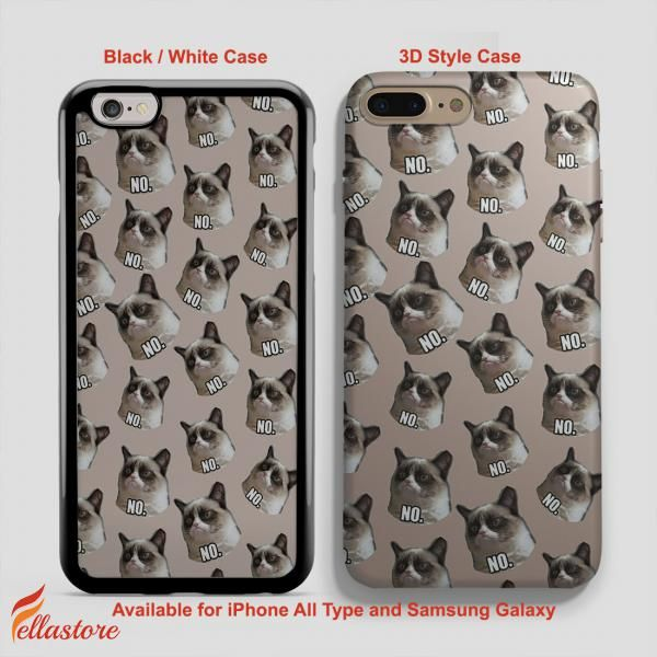awesome Grumpy Cat Angry Cat No iPhone 7-7 Plus Case, iPhone 6-6S Plus, iPhone 5 5S SE, Samsung Galaxy S8 S7 S6 Cases and Other