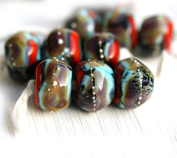 Glass Lampwork beads Earthy Colors Handmade beads by MayaHoney Buy it now - $14,5