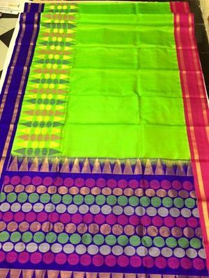 Parrot Green Exclusive Handwoven Pure Silk Saree With Orange Border Silk Sarees on Shimply.com