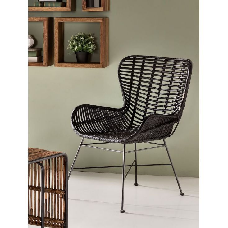 Vintage style Rattan Armchair and chairs in retro new design for hallways, bedroom and living room. Handmade in stylish rattan natural or black with heavy duty steel