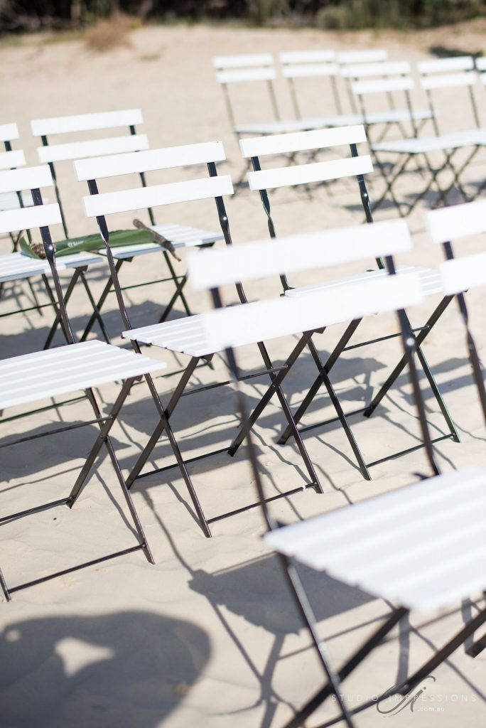 White and Black Bistro Chairs - Lovebird Weddings, Noosa Australia