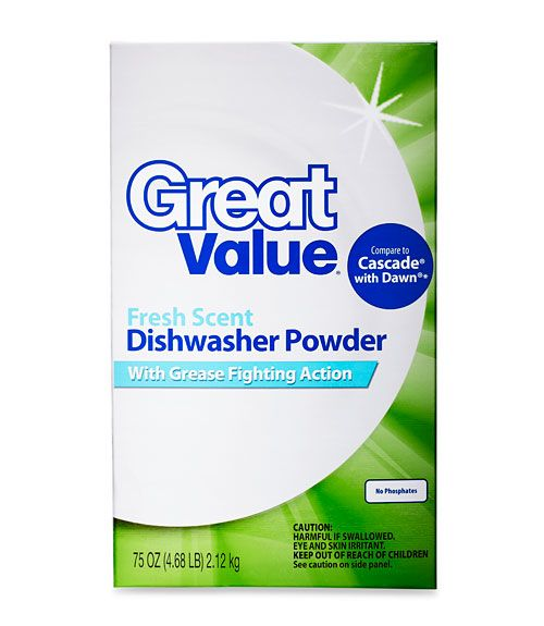 Bargain Walmart Great Value (shown, $3.22 for 75 ounces; 10 cents per load) squeaked by others to win the race for best cleanser, scouring off mac 'n' cheese and baked beans and eliminating hard-water spots. Other worthy picks: Target Up & Up ($3.24 for 75 ounces; 10 cents per load) and Cascade Complete ($7.25 for 75 ounces; 26 cents per load).%0A - GoodHousekeeping.com
